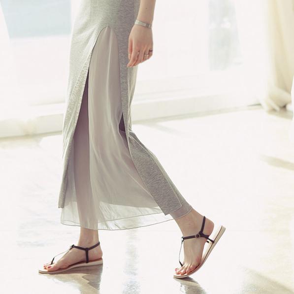 2015新款夏韩版莫代尔雪纺拼接开叉半身裙不规则半身长裙女包臀裙
