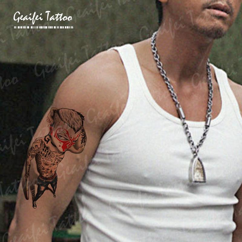 格艾菲纹身贴-社会猴纹身贴 孙悟空 忠义纹身 花臂刺青 原创手稿