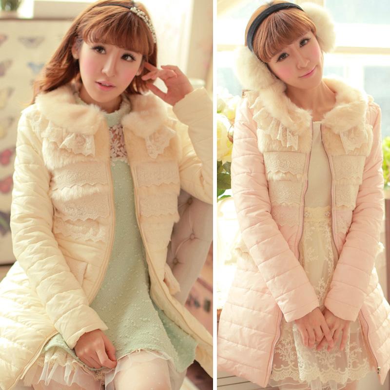 甜美冬装蕾丝毛领长袖长款羽绒棉衣外套中长款可爱羽绒服女