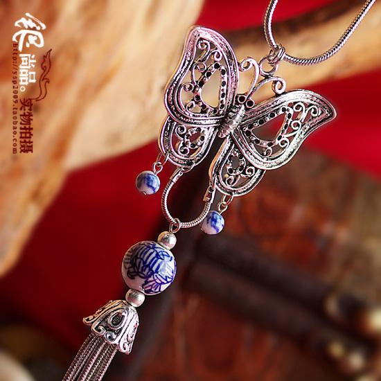苗银青花瓷长款毛衣链女项链 复古民族中国风手工银饰品『呢喃』