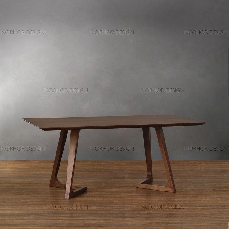 北欧表情/传世经典/北美黑胡桃木家具/汉塔森实木6人西餐桌书桌
