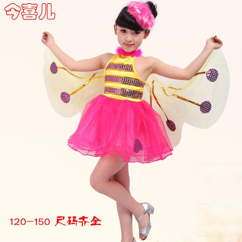幼儿舞蹈天使的翅膀_2014最新款 儿童演出服装女 幼儿舞蹈演出服 带翅膀蝴蝶纱裙蜜蜂