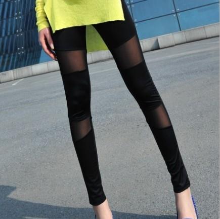 韩国春夏新款牛奶丝打底裤外穿网纱拼接小脚裤显瘦女长裤子薄包邮