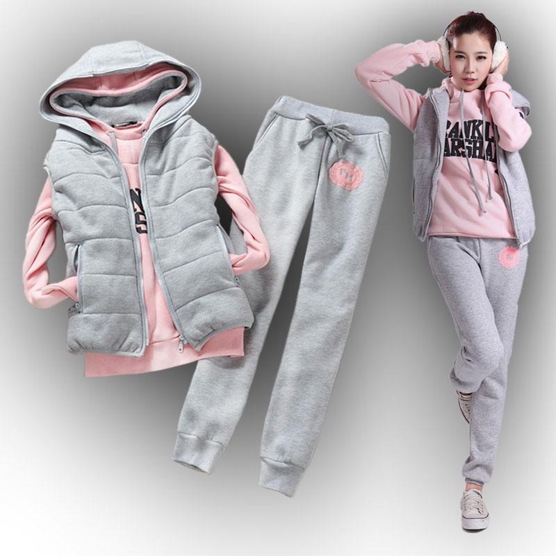 女士卫衣三件套加厚加绒 2015秋冬新款韩版大码女装休闲运动套装