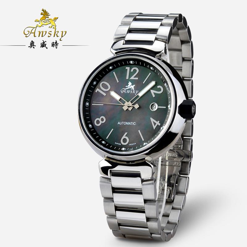 奥时奇男士机械手表_AWSKY奥威时男表全自动机械机芯手表男带日历防水表时尚LV001