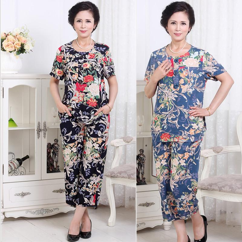 夏装新款中老年女装竹节棉花色加大码短袖上衣九分裤气质胖妈套装