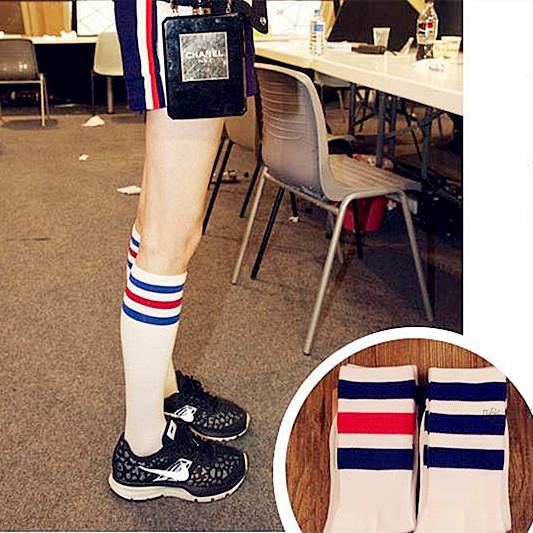 买2包邮学院风日韩系三杠彩条纹全棉半筒袜堆堆袜中筒袜女袜子