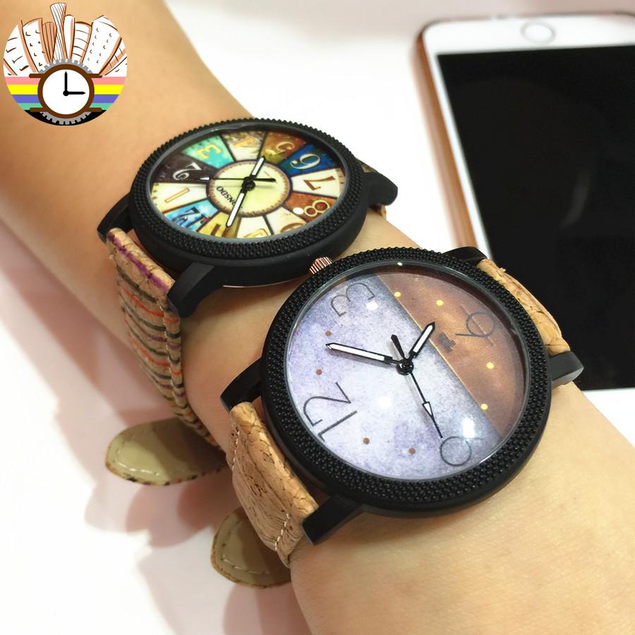 韩版复古木纹简约时尚休闲小表盘特色森系男女学生石英情侣手表