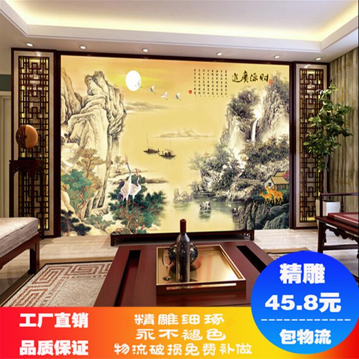 瓷砖背景墙 客厅沙发电视背景 现代中式彩雕背景墙山水画财源广进