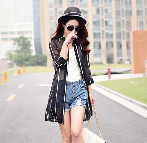 2015夏女装韩版印花七分袖水墨雪纺薄款中长款防晒衣披肩开衫外套