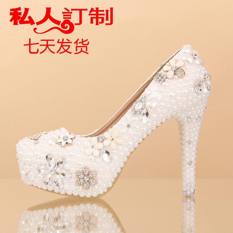 精致珍珠婚鞋水钻水晶鞋婚纱照鞋礼服鞋超高跟防水台花朵白色单鞋