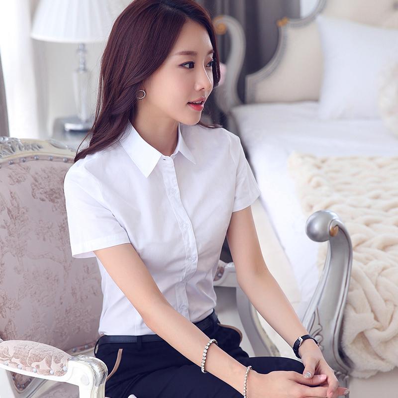 2015夏季新品纯棉白短袖衬衫女韩版职业上衣大码正装女士白色衬衣