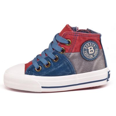 包邮 春新款芭芭鸭帆布鞋童鞋男童大中童学生鞋魔术贴高帮板鞋子