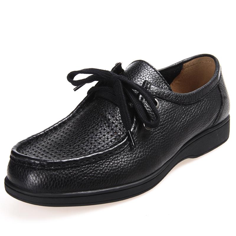 亨达孝亲男鞋真皮黑色皮鞋 休闲透气单鞋 英伦商务休闲爸爸鞋