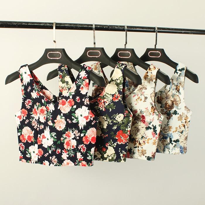 2015夏季新款韩版花朵无袖高腰露脐上衣性感修身短款吊带背心女潮