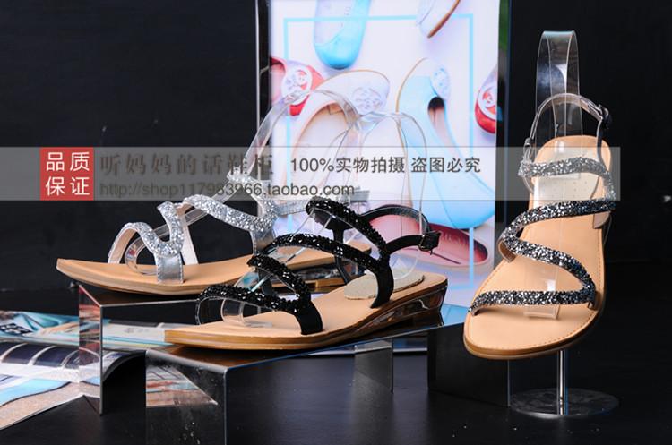 丽女 思加图物实拍代购2015年夏款平跟水钻OL优雅女凉鞋 9RQ05