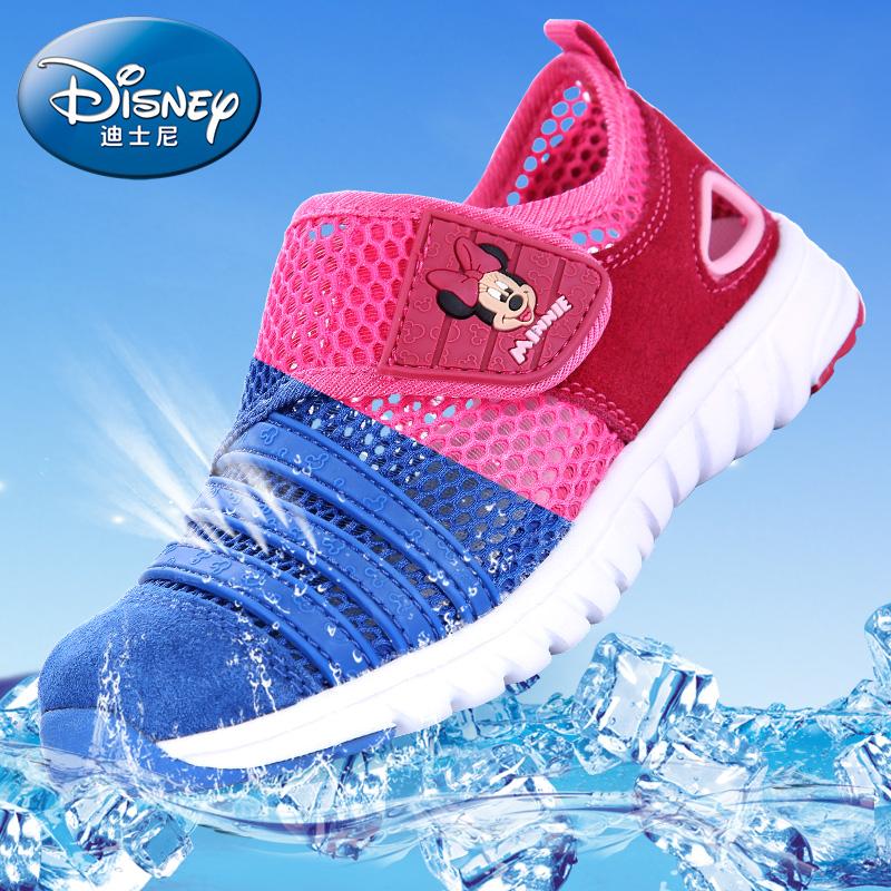 迪士尼儿童鞋米奇春夏儿童运动鞋真皮网面网鞋男女童鞋毛毛虫
