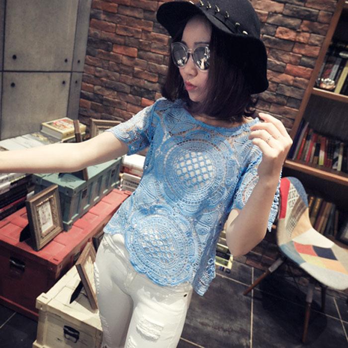镂空蕾丝罩衫女勾花短袖小衫2015夏季新款韩版短款T恤性感上衣潮