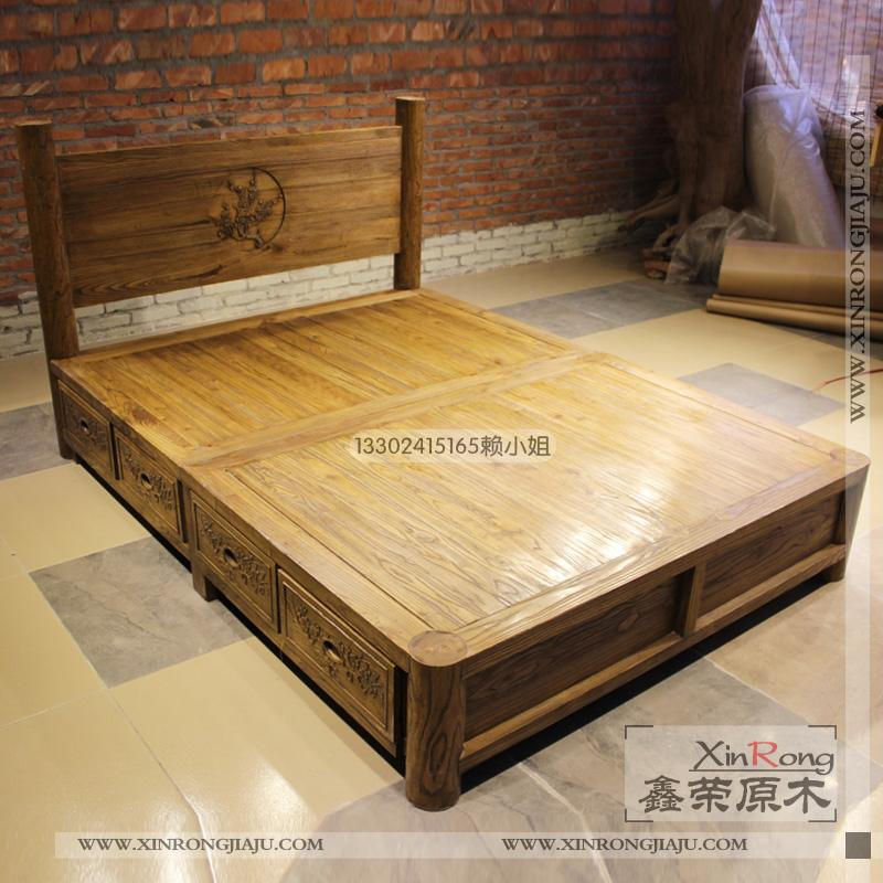 联邦家具风格原木家具仿古家具双人床实木床榆木床古典大床 定制