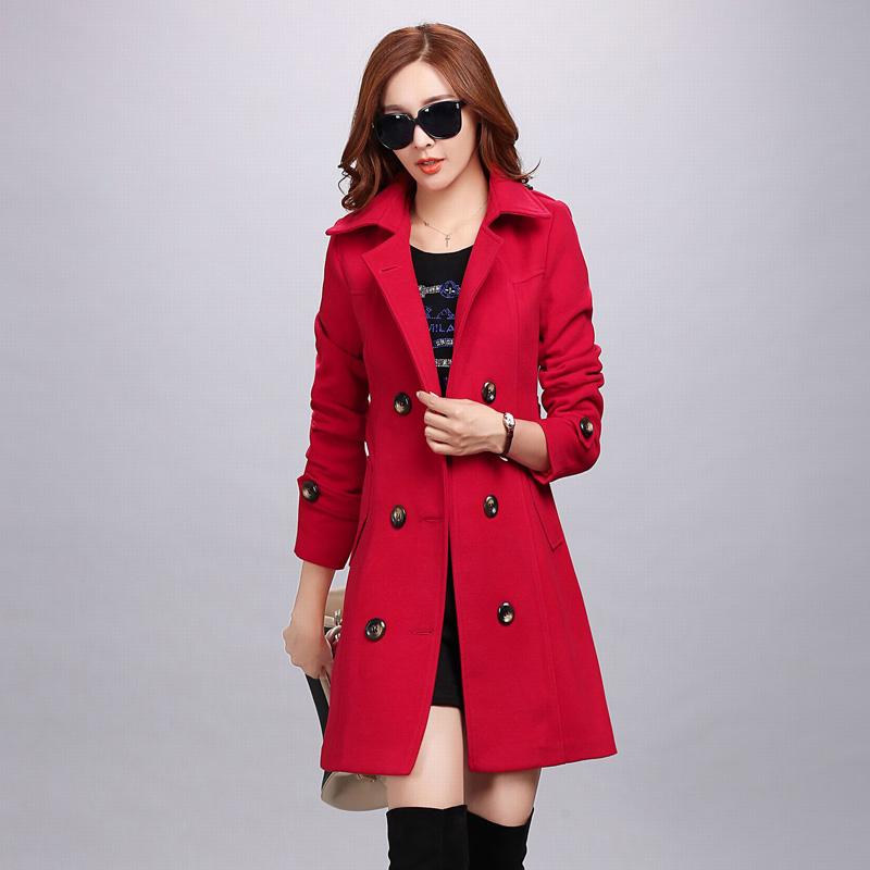 红松女装艾米子萱羊毛大衣2015秋冬装新款双排扣中长款毛呢外套