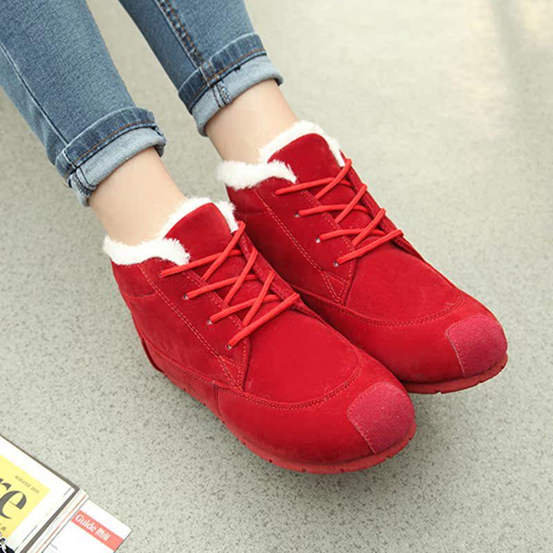 春季休闲低帮韩版雪地靴潮平底学生运动女鞋子加厚绒保暖棉鞋防水