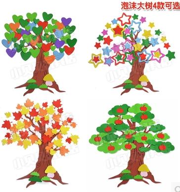 幼儿园布置树主题墙面装饰苹果大树墙贴泡沫枫叶立体教室高1.5米100平方80乘120设计图四房图片