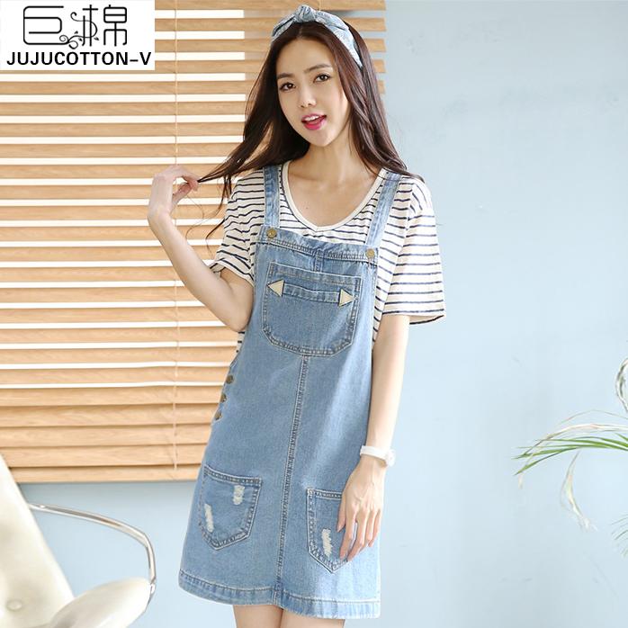 巨棉2015韩版新款女装夏天牛仔连衣裙子背带裙夏季显瘦无袖背心裙