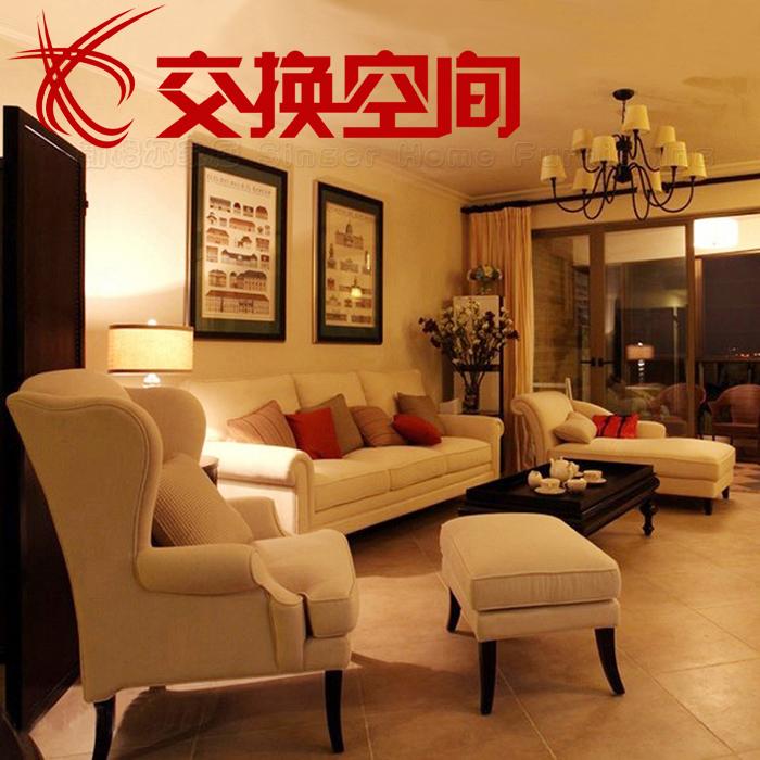 美式乡村沙发宜家小户型老虎椅单人三人地中海简欧式布艺沙发组合