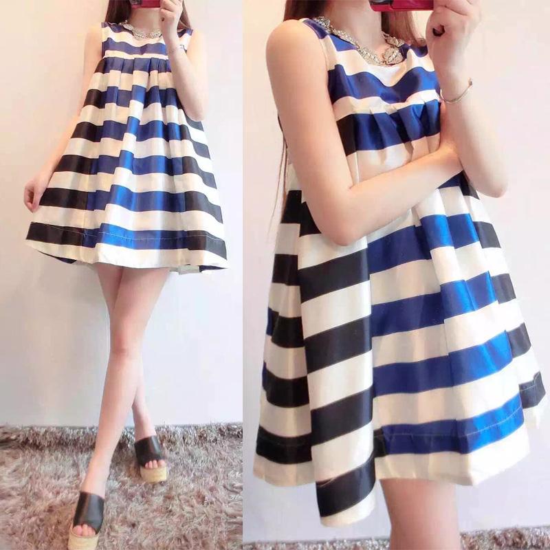 2015夏季新款小香风条纹胖MM背心连衣裙宽松大码蓬蓬裙高腰娃娃衫