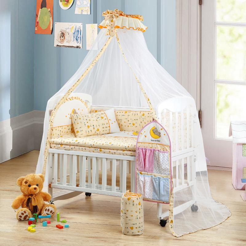 笑巴喜婴儿床全实木环保无漆多功能可变儿童书桌摇床宝宝童床套装