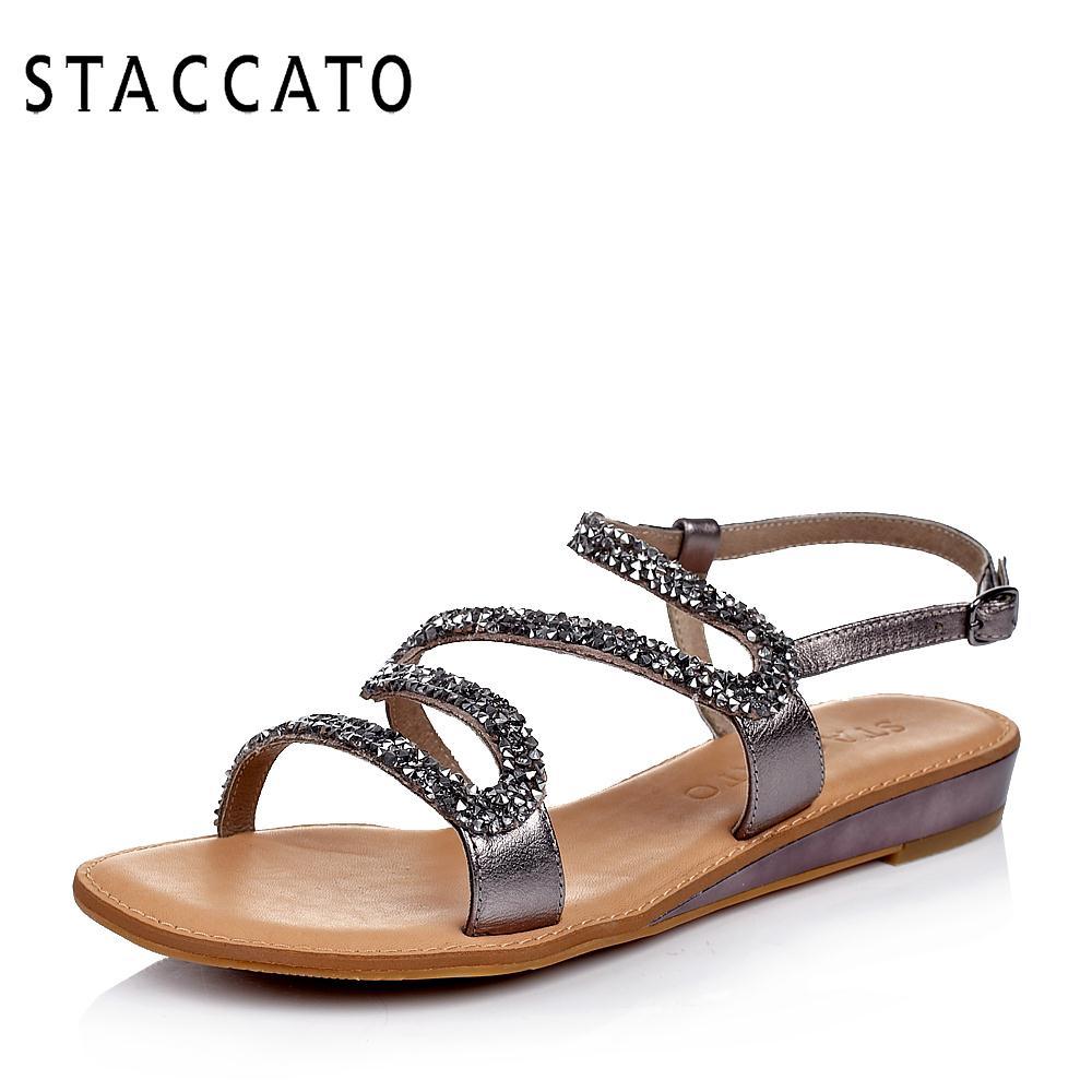 爆款STACCATO/思加图夏季专柜同款羊皮平跟女凉鞋9RQ05BL4
