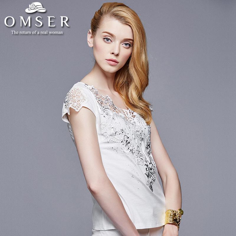 2015夏装新款性感时尚V领短袖蕾丝拼接小衫女勾花镂空女装上衣潮