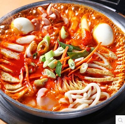 包邮韩国芝士年糕火锅套餐部队火锅芝士夹心年糕酱鱼饼拉面2包