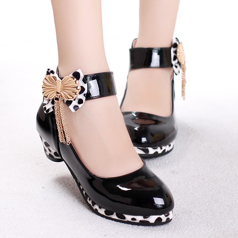 春秋童鞋女童皮鞋2015新款儿童鞋高跟韩版黑色公主单鞋女孩舞蹈鞋