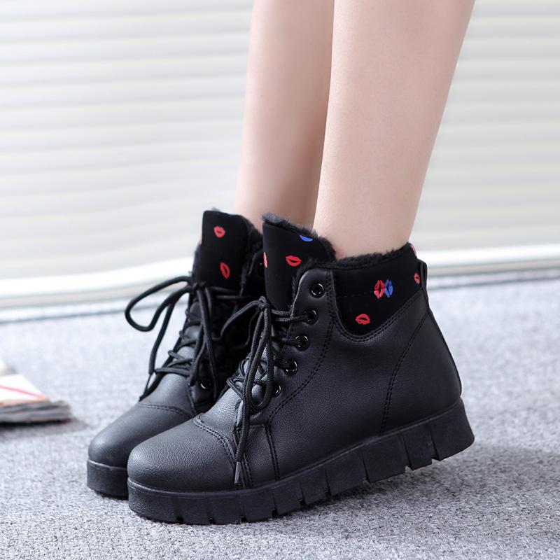春季加绒高帮鞋女韩版防水雪地靴短靴增高棉鞋女休闲保暖学生鞋潮