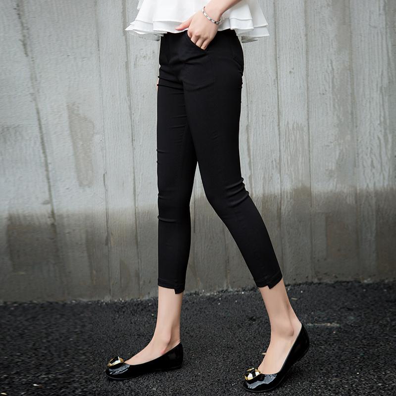 夏季薄款打底裤黑色八分裤女弹力紧身九分裤子修身显瘦七分小脚裤