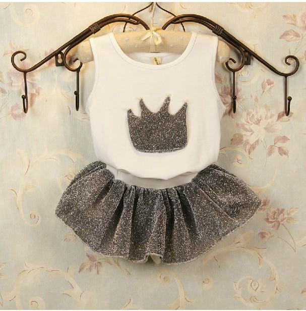童装2015女童夏装套装新款韩版宝宝纯棉套装无袖T恤+裙裤2件套装