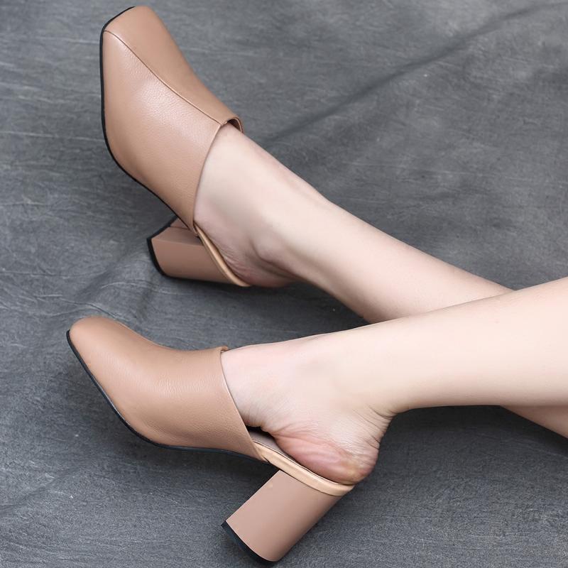 真皮粗跟凉拖鞋女 2017夏季新款欧洲站全皮包头套脚高跟拖鞋女鞋