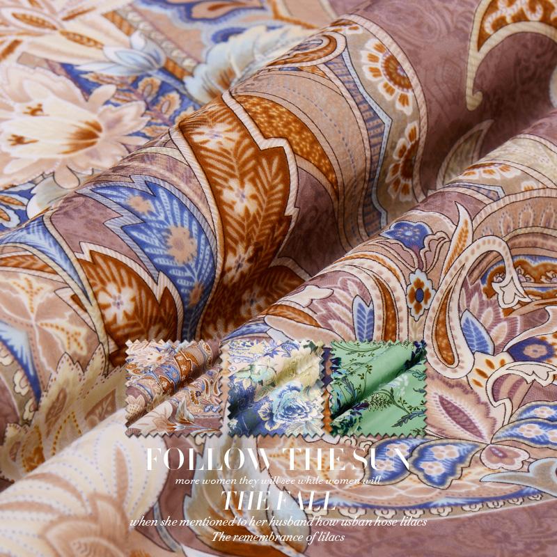 复古传奇●提花丝棉缎 高品质真丝棉绸缎面料提花缎布料丝绸布料