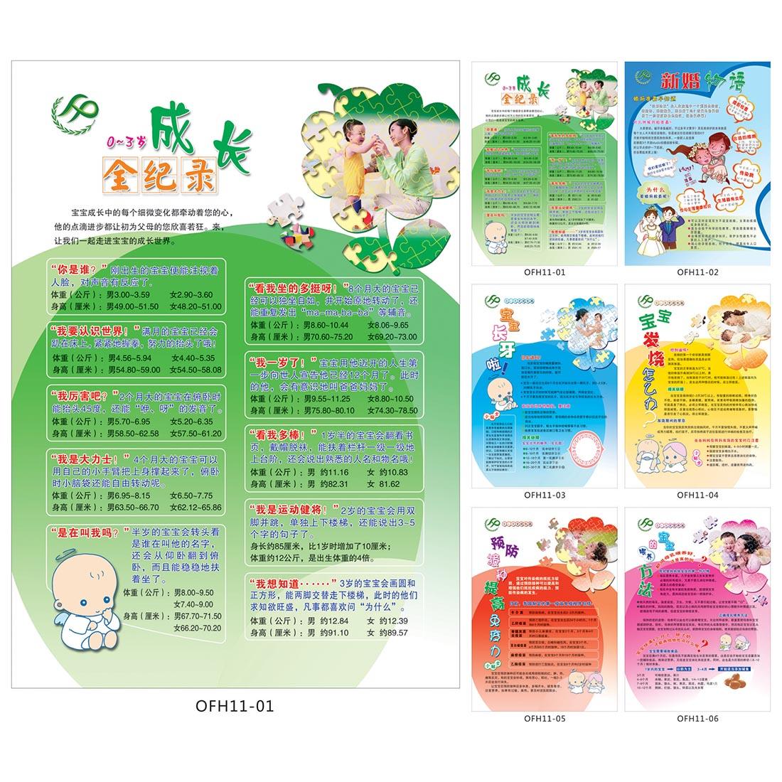 计划生育宣传海报/宝宝成长全记录挂图/长牙喂养宣传画贴画OFH11