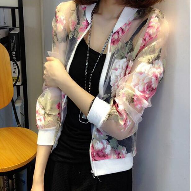 夏季新款防晒衣女长袖印花超薄短外套欧根纱防紫外线开衫防晒服女