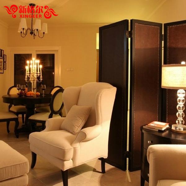 美式乡村田园老虎椅单人沙发 小户型酒店高背椅卧室布艺沙发新款