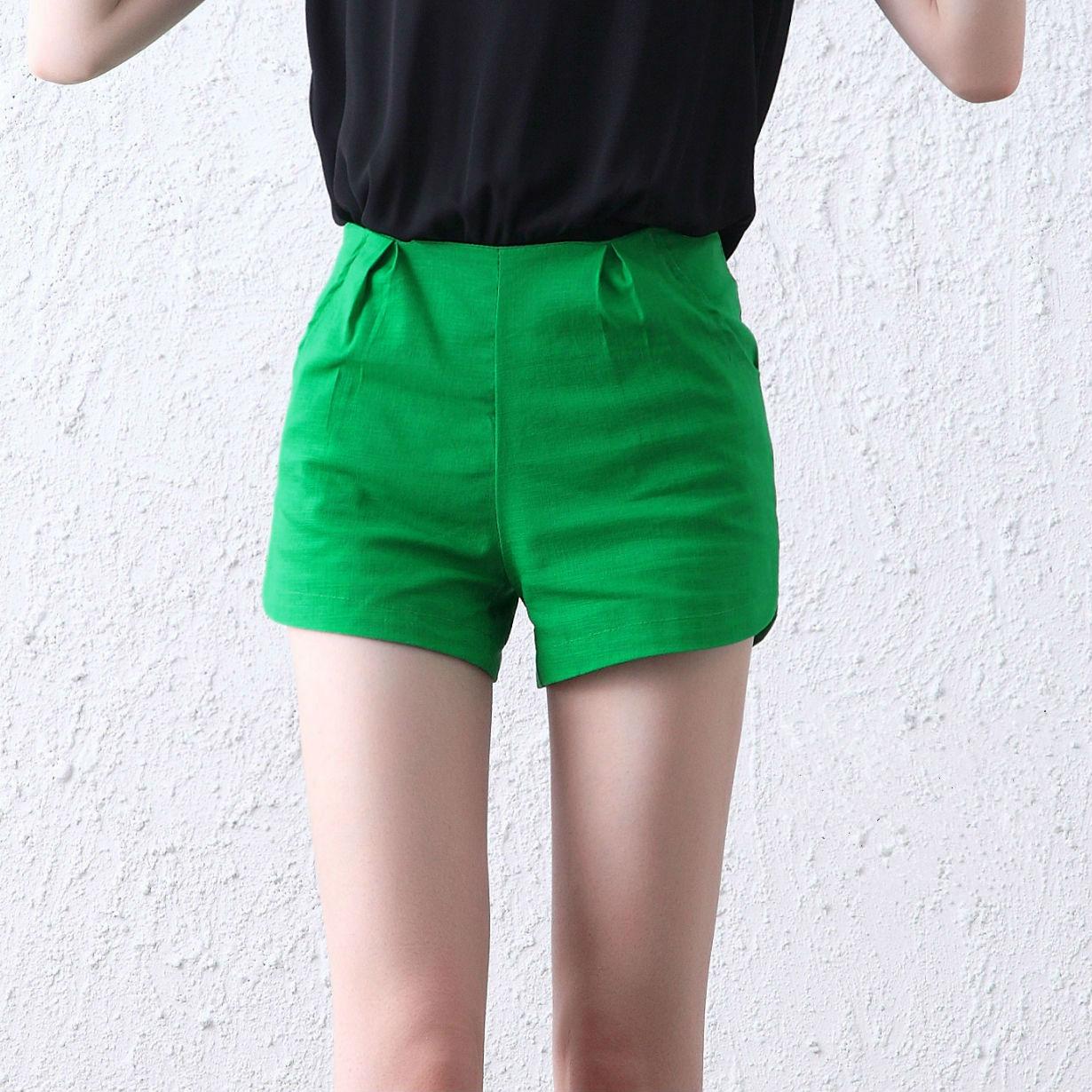 2015夏季女装松紧腰休闲运动热裤宽松显瘦棉麻短裤女夏文艺范裤子