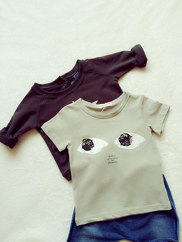 政太家 定制款 儿童大牌时尚大眼睛 灰色短袖T恤