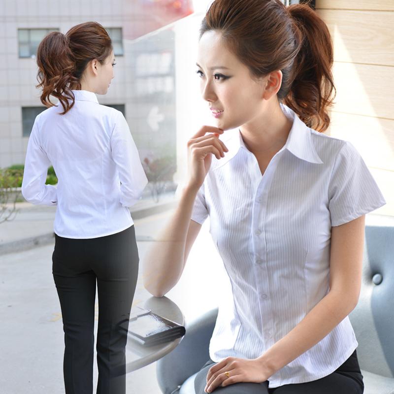OL通勤职业女工装短袖白色衬衣修身正装长袖条纹衬衫工作服上衣棉