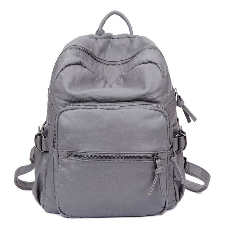 2014新款韩国水洗皮双肩包女包 韩版潮女学院风软背包书包旅行包
