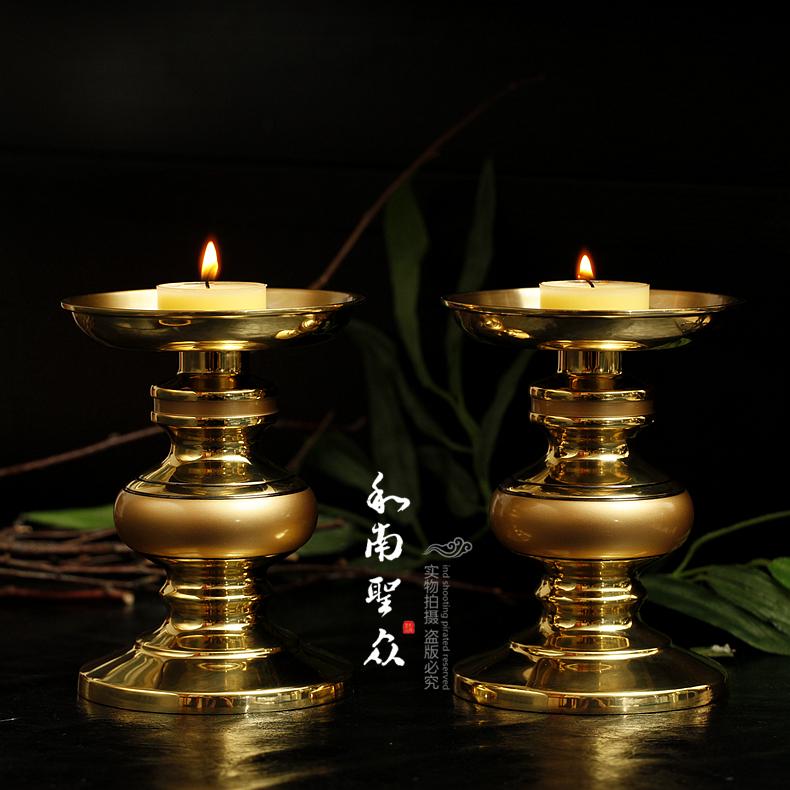 佛教用品佛前灯纯铜油灯台湾铜烛台蜡烛台供灯财神灯酥油灯座/支图片