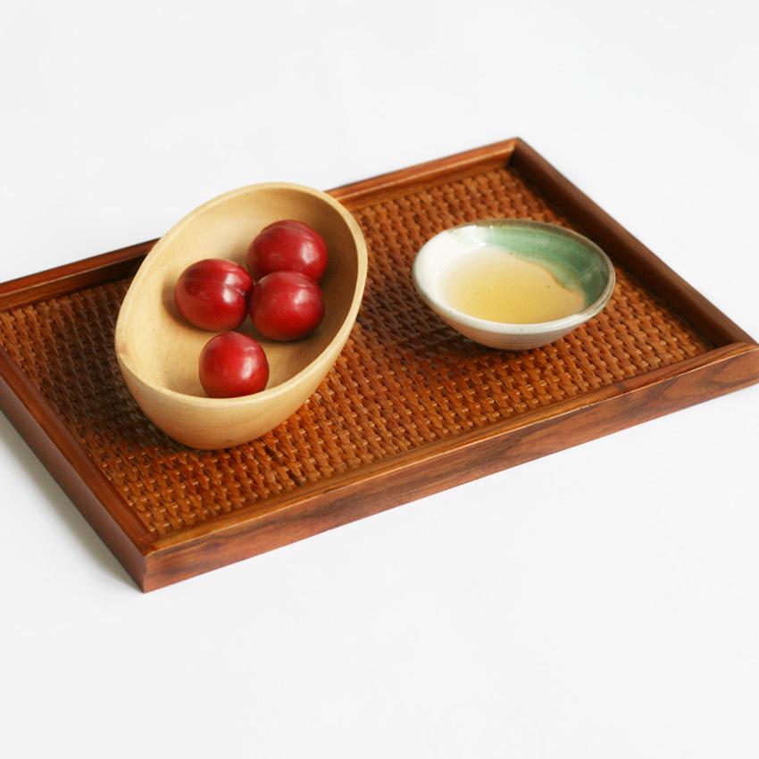 帛彩堂 藤编长方形茶盘 木质茶托 茶具茶道配件 托盘木盘 水果盘