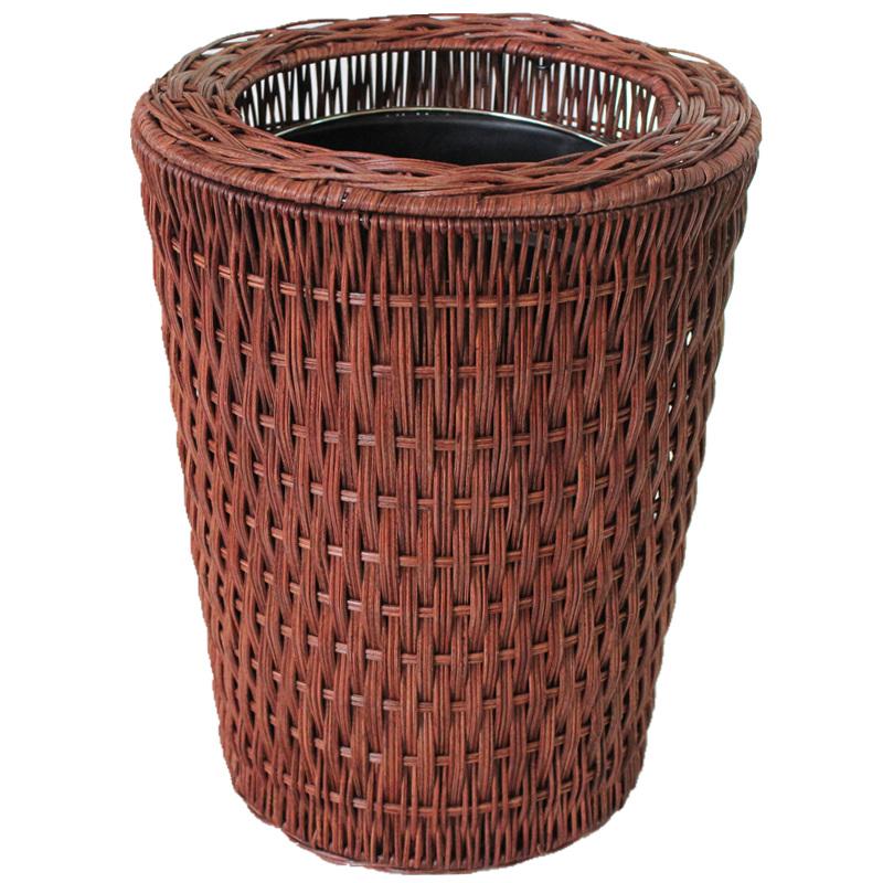 竹藤编客厅厕所简约时尚无盖办公室纸篓垃圾桶厨房创意田园垃圾筒