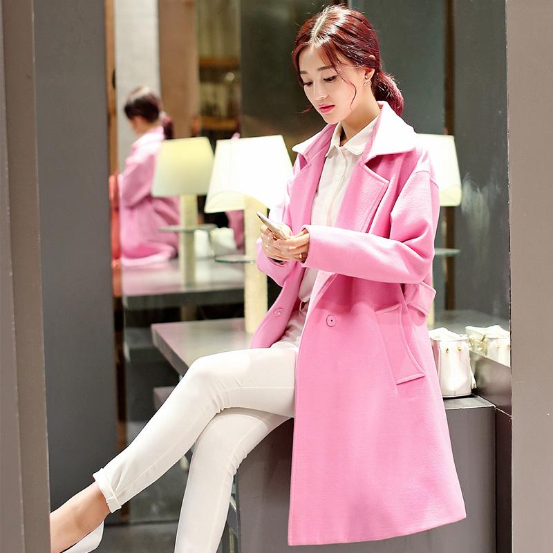 红松女装艾米子萱羊毛大衣2015秋冬装新款艾玛莉大码毛呢外套纤度